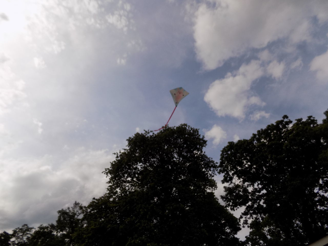 BYOPaper! Cloud - Sky Day Flag Fluffy Clouds Flying A Kite Kite Low Angle View Nature No People Outdoors Tree Trees