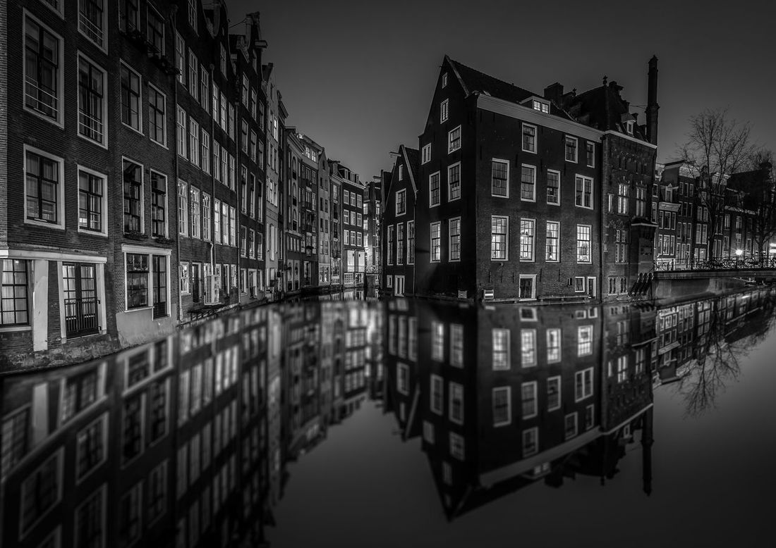 Amsterdam Amsterdam Canal Amsterdam Red Light District Amsterdamse Grachten Architecture Blackandwhite Building Building Exterior Built Structure Canal City City Life Nightphotography No People Outdoors Reflection Standing Water Water Waterfront