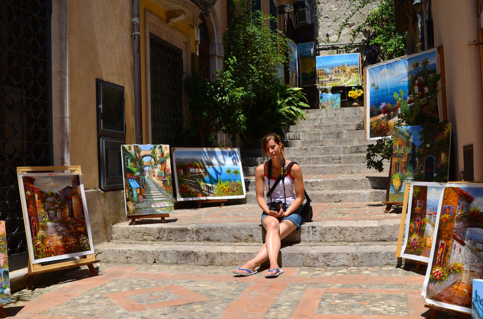 Adult Adults Only Art Is Everywhere Beautiful Woman Building Exterior Colors Day EyeEmNewHere One Person One Woman Only Only Women Outdoors Painting Peace Real People Sitting Stairs Tree Young Adult