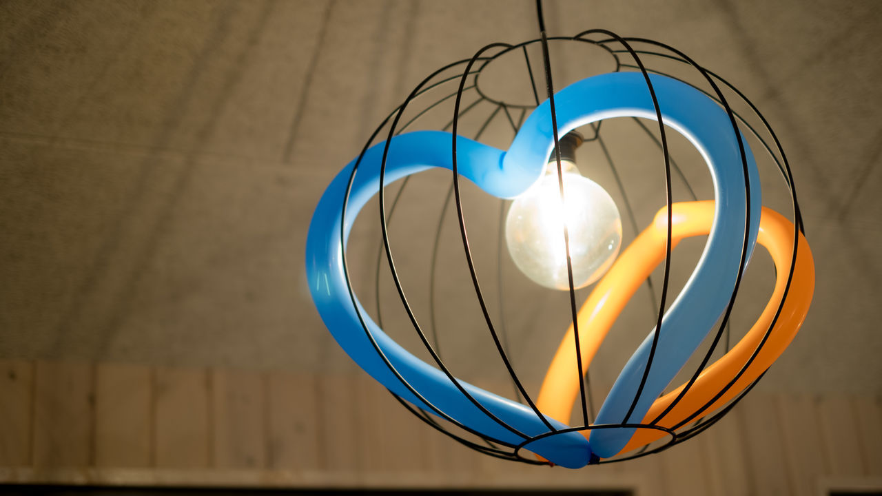 Art Balloons Blue Close-up Copy Space Day Hearth Illuminated Indoors  Light Lighting Equipment Love Low Angle View No People Shape And Form