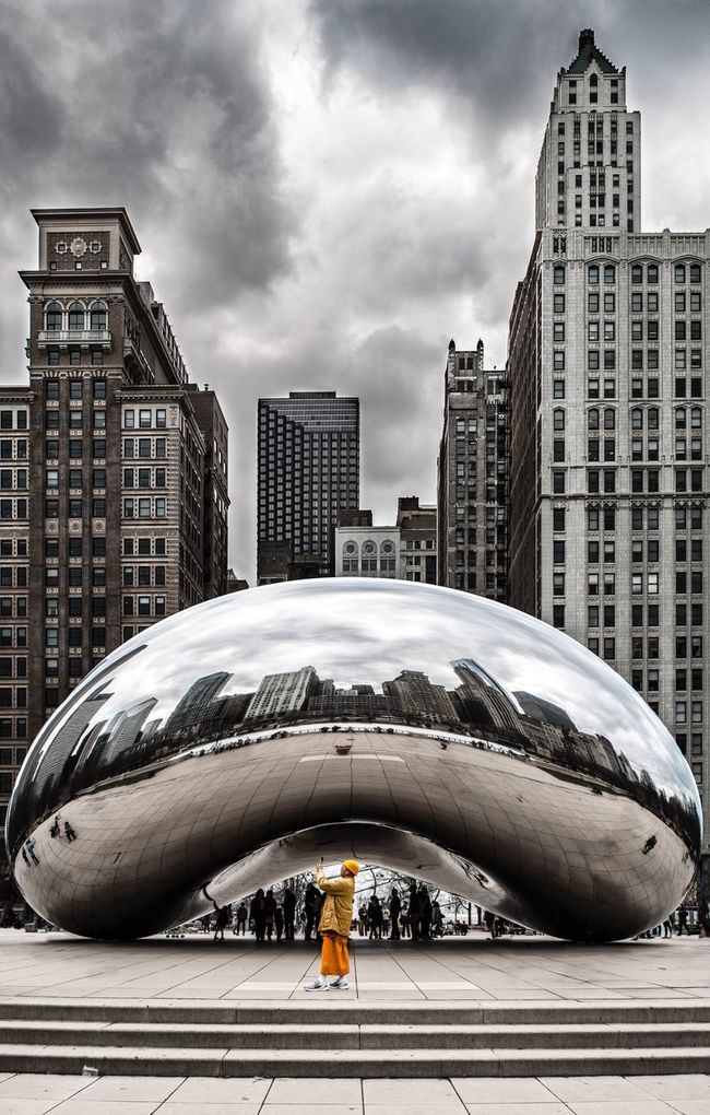 Urban Skyline Architecture City Chicago Chicago Bean The Week On EyeEm Crhome Orange TakeoverContrast EyeEm Best Shots Eyeem School Of Photography Featured Photo Gloomy Gloomy Weather Foreigner Tourist Buddist Monk  Stand Out From The Crowd Chicago Architecture Chicago Landmark Chicago Art Travel Destinations Cloud - Sky Cloud Gate In Chicago