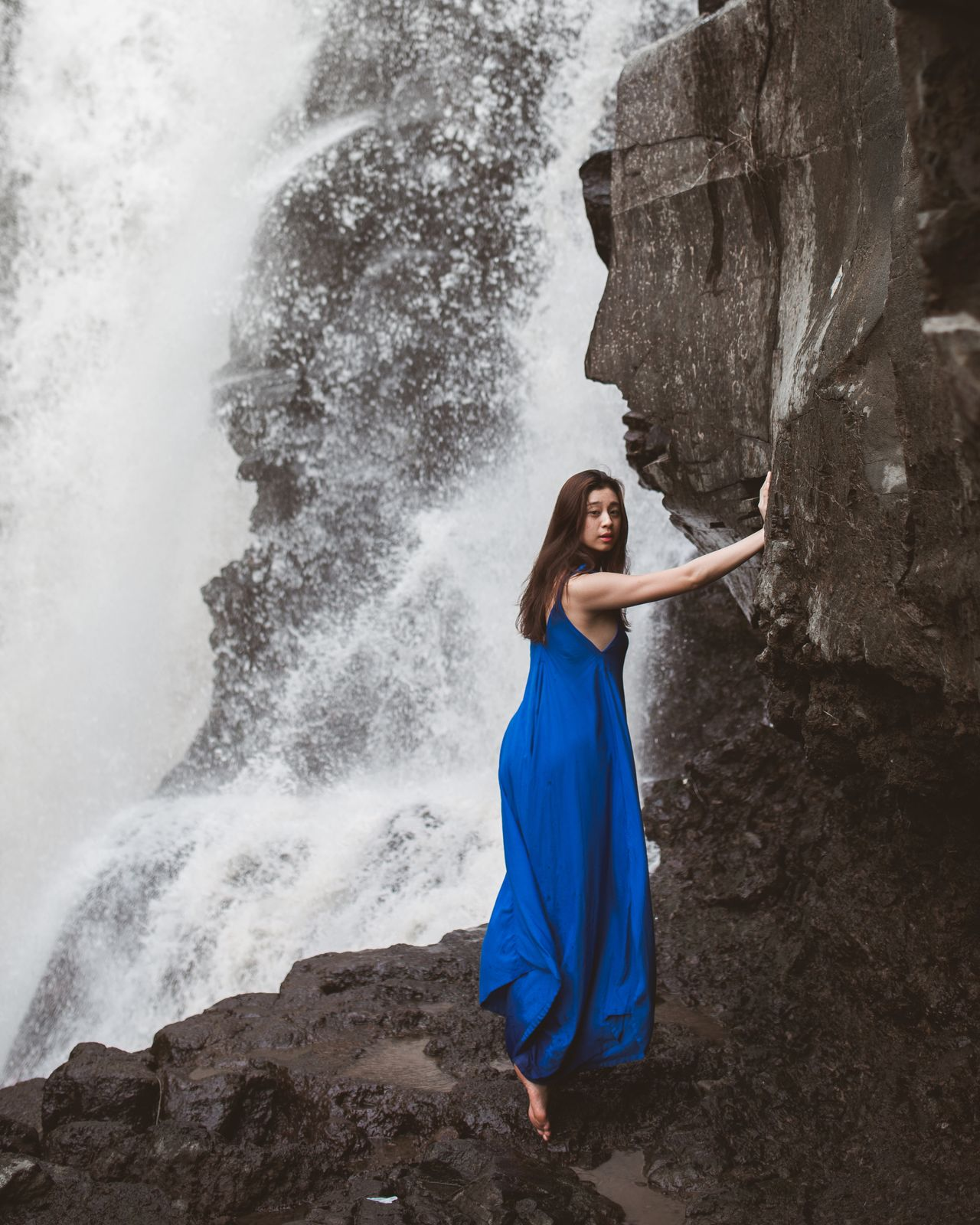 run on forever Beautiful People Beauty In Nature Outdoors Portrait Of A Woman Natural Light Portrait Women Of EyeEm Portrait Of A Girl Fine Art Photography Portrait Photography Portraits Of EyeEm Blue Girl Waterfall Water_collection Tukad Cepung Bali Bali, Indonesia Travel