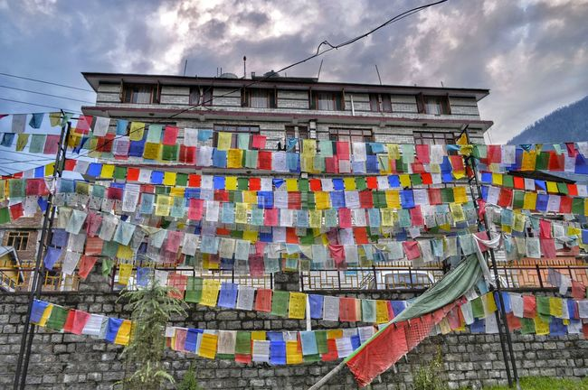 Multi Colored Low Angle View Cloud Colorful Tourism Buddhism Culture Indiaincredible Buddhist Flag Indianculture Buddhist Wisdom Decorated Prayer Flag No People