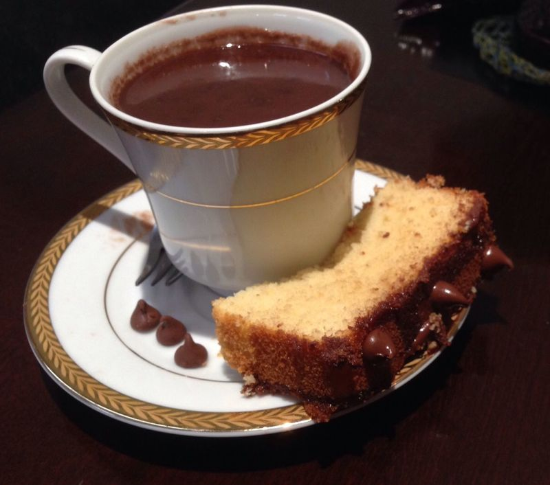 Kitchenny . here is an equation i just wrote : Hot Chocolate + Poundcake = Heaven ❤️☕️