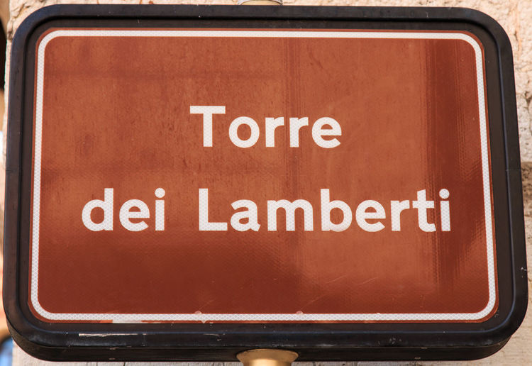 Lamberti Tower street sign - Verona - Italy Arena Capital Letter City Close-up Coluseum Communication Day Geometric Shape Information Sign Italy Outdoors Romeo And Juliet Subway Station Text Verona Western Script