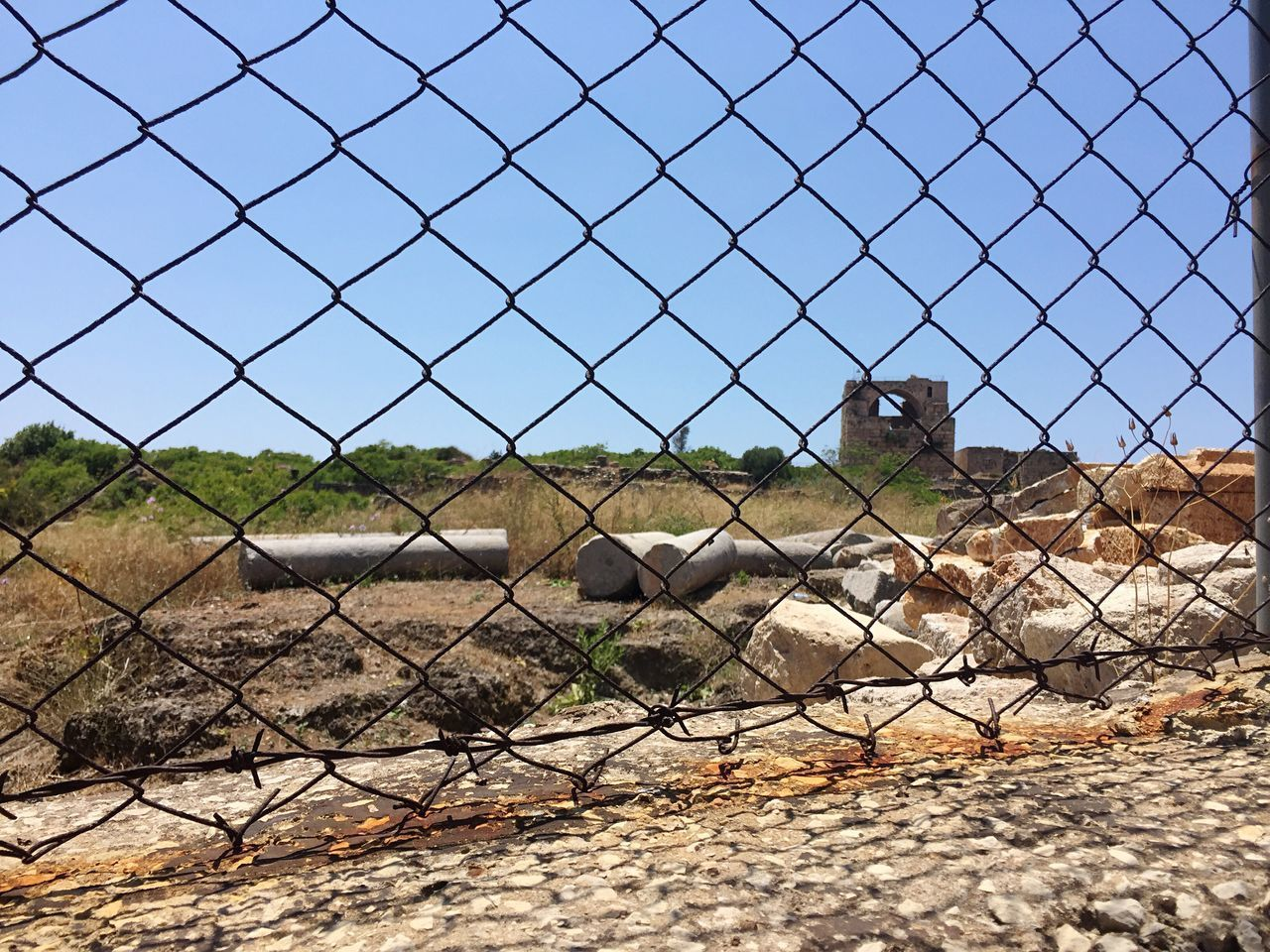 Chainlink Fence Clear Sky Ancient Civilization Built Structure Crusader Fortress Ancient Ruins Byblos Lebanon