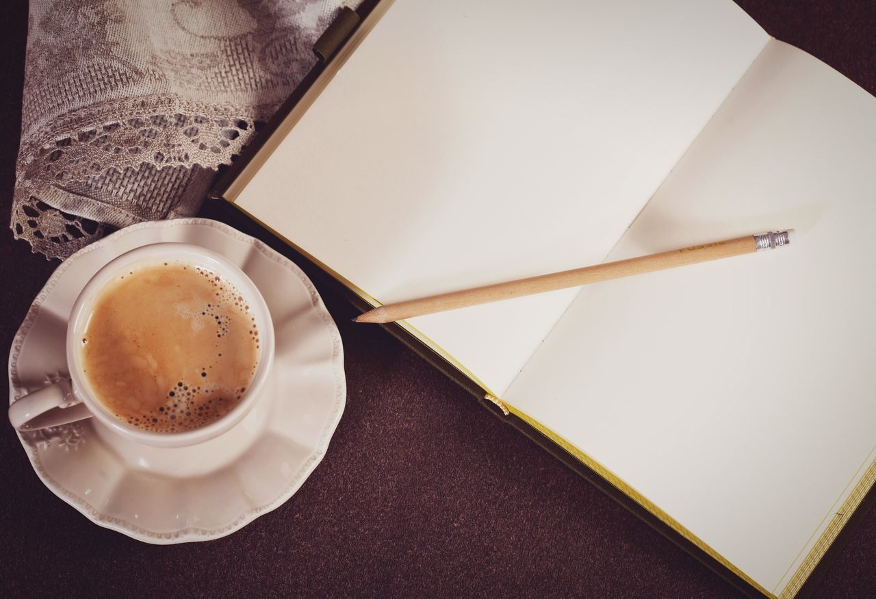 Coffee Cup Coffee - Drink High Angle View Drink Saucer Table Food And Drink Cup Refreshment Directly Above Indoors  No People Close-up Espresso Cozy Always Be Cozy Hot Warm Notebook Notes Page Pencil Drawing Copy Space Writing
