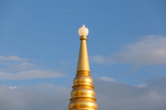 golden pagoda Architecture Buddhism Built Structure Cloud - Sky Day Gold Colored Golden Pagoda Low Angle View Nature No People Outdoors Religion Sky Spirituality Tourism Travel Travel Destinations