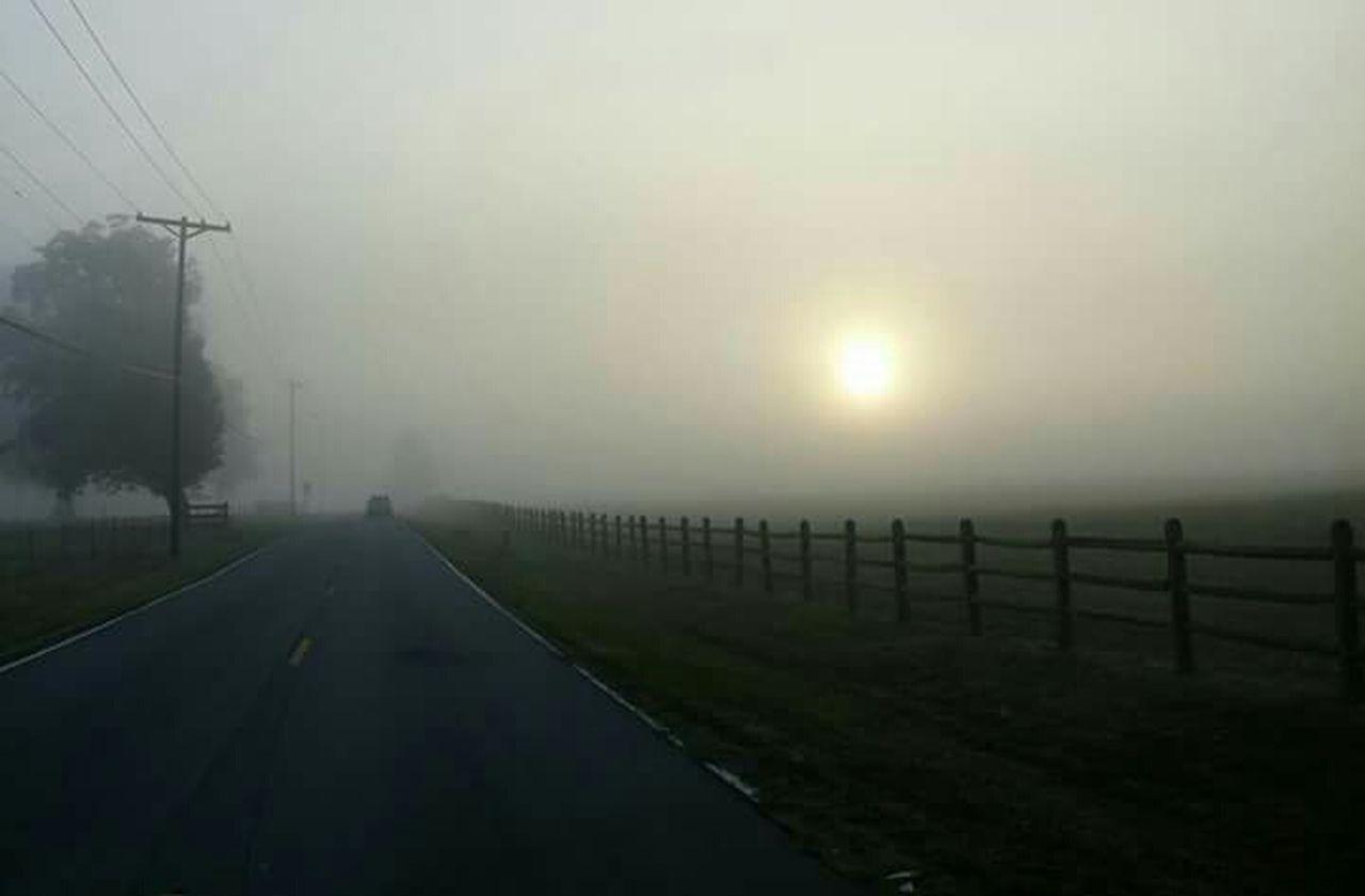 Glitch Fog Sun Rise Country Road