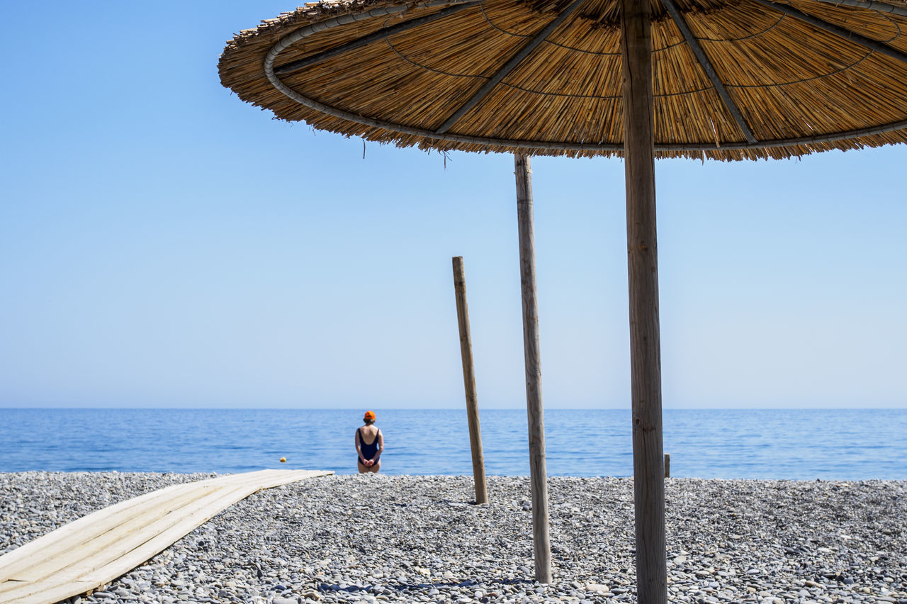 Sougia beach on the south side of Crete Beach Beach Umbrella Clear Sky Holiday Horizon Over Water Leisure Activity Lifestyles Minimalism Sea Summer Tranquility Vacations Water