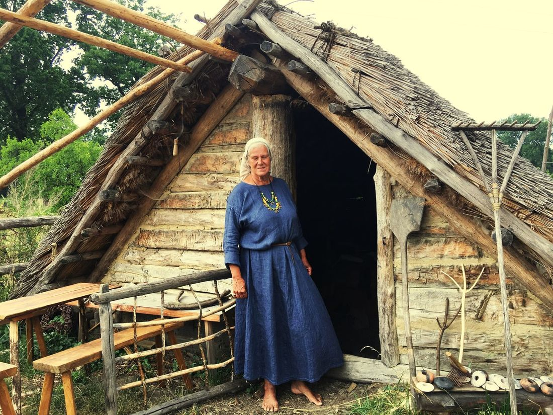 Simple life House Wood - Material Senior Adult Real People One Person Outdoors Built Structure People