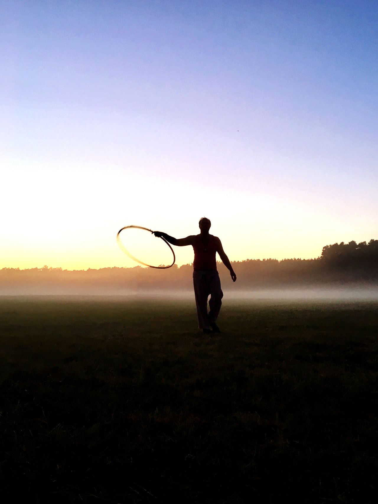 Sunset Silhouette Hullahoop Outdoors Nature Campinglife