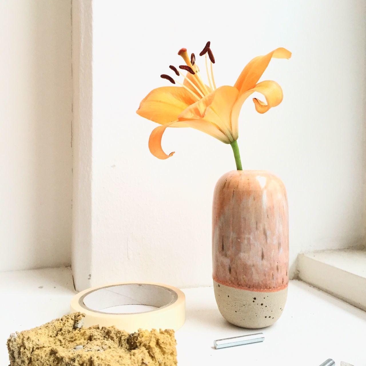 Vase Vase Of Flowers Flower Blossom Lily Tiger Lily Studio Workshop Ceramics Handmade Denmark Danish Danish Design Copenhagen