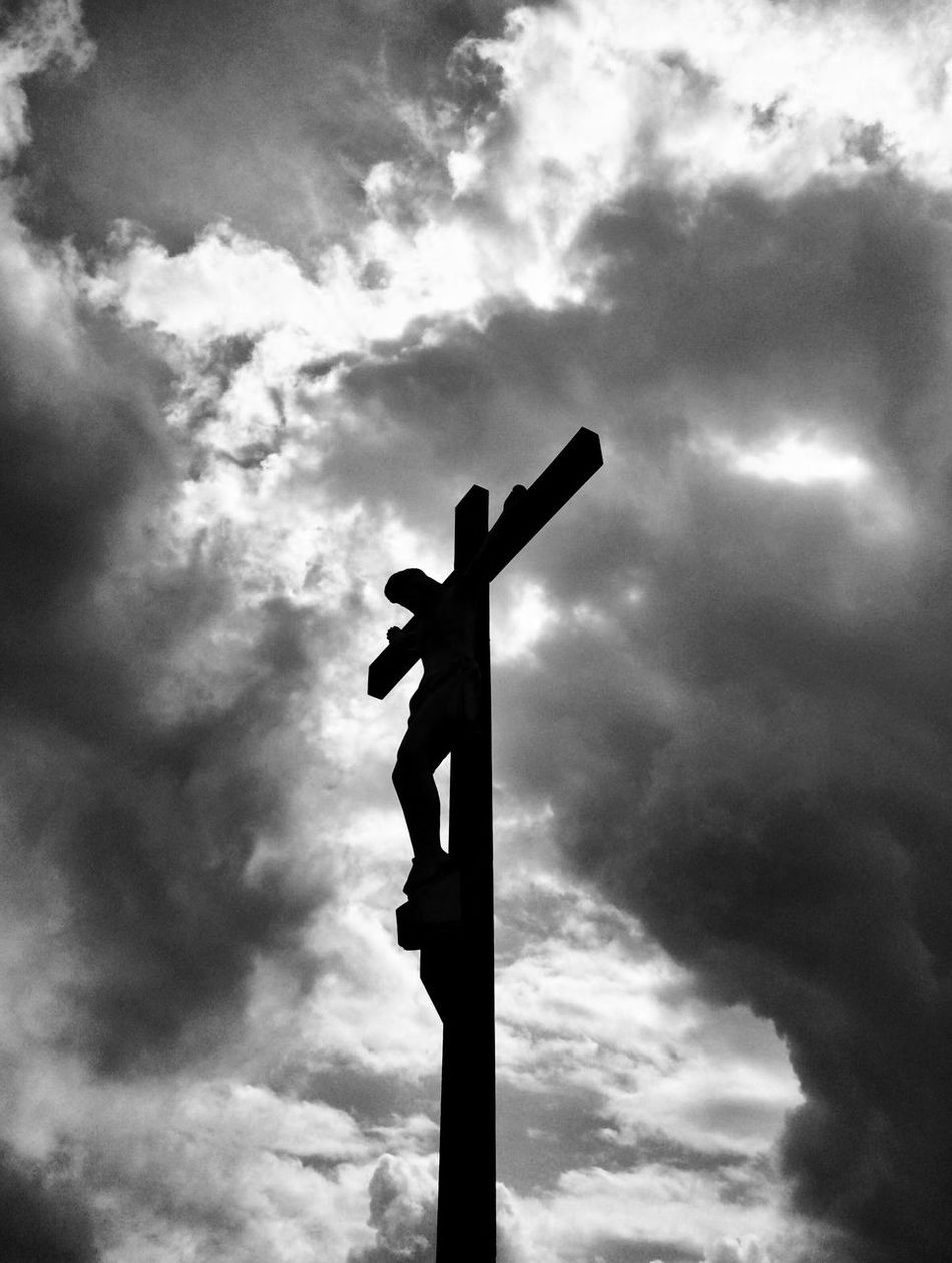 Cloud - Sky Low Angle View Sky Jesus Blackandwhite Blackandwhite Photography Silhouette No People Outdoors Day Cross Road Sign Nature EyeEmNewHere TCPM Break The Mold