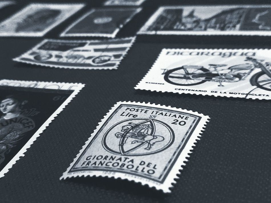 Photographic Memory Collection Old Collection Old Times Vintage Photo Vintage Stamps Stamp Francobollo Francobolli Memories Memory Ricordi Memorial Black And White Bianco E Nero EyeEm Gallery EyeEm Best Shots Collezzione Collections Grey Macro Giornata Del Francobollo Around The World Monochrome Photography Lieblingsteil