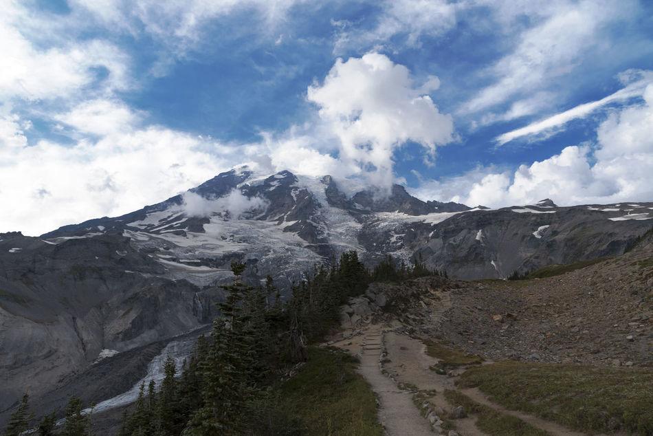Hiking Mount Rainier trails Beauty In Nature Cloud - Sky Day Glaciers Hiking Landscape Mount Rainier Mountain Nature No People Outdoors Scenics Sky Trails Washington State