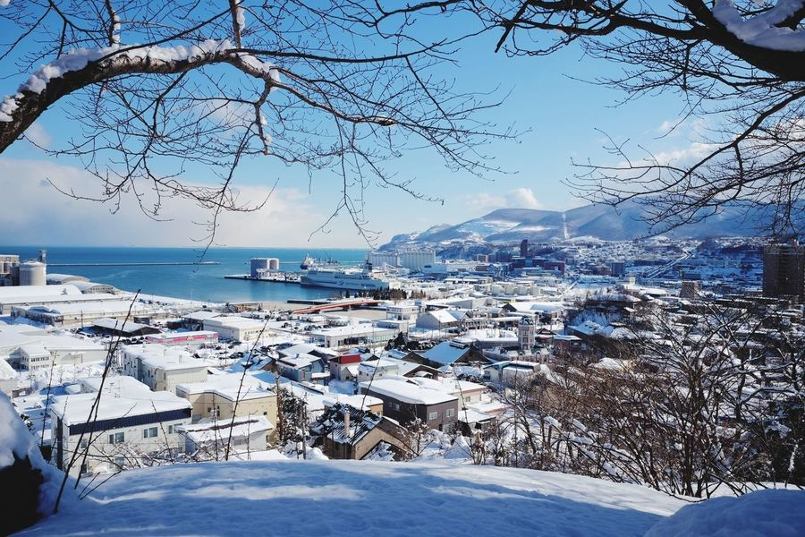 sunny day in Otaru Snow Winter Sea Cold Temperature Mountain Outdoors Sky Nature Water Scenics Day No People Landscape Tranquility Beauty In Nature Travel Destinations Clear Sky