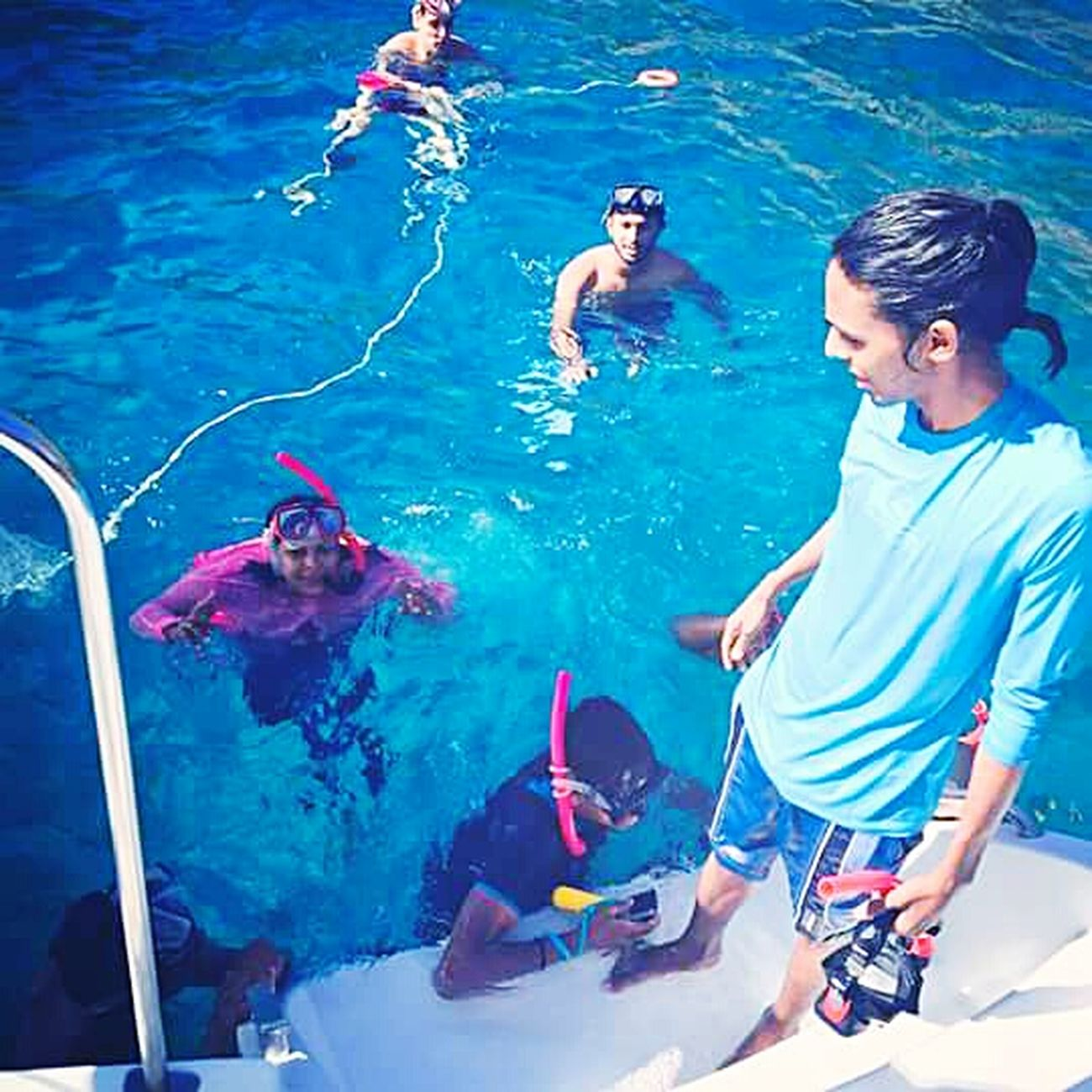 Summertime Catamaranboat Leisure Activity Diving Aqualife Aquabeauty Another World