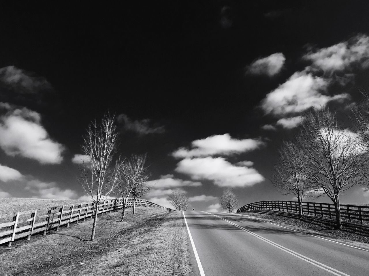 The Way Forward Road Transportation Fences Sky Cloud - Sky Outdoors Tree Day Railing No People Nature Country Road Countryside EyeEm Best Shots Rural Scene Rural America Landscape Winter Scenics Beauty In Nature Black And White Blackandwhite