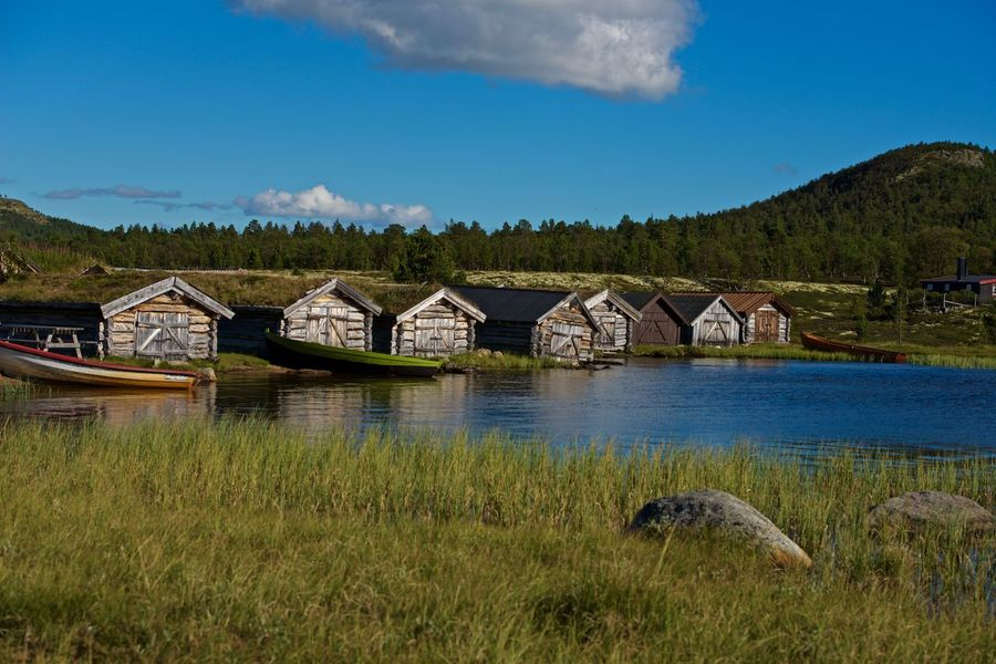 Boathouses Norway Blue Sky Boathouses Daytime Lake Mountain Nature Photography No Poeple Old Houses