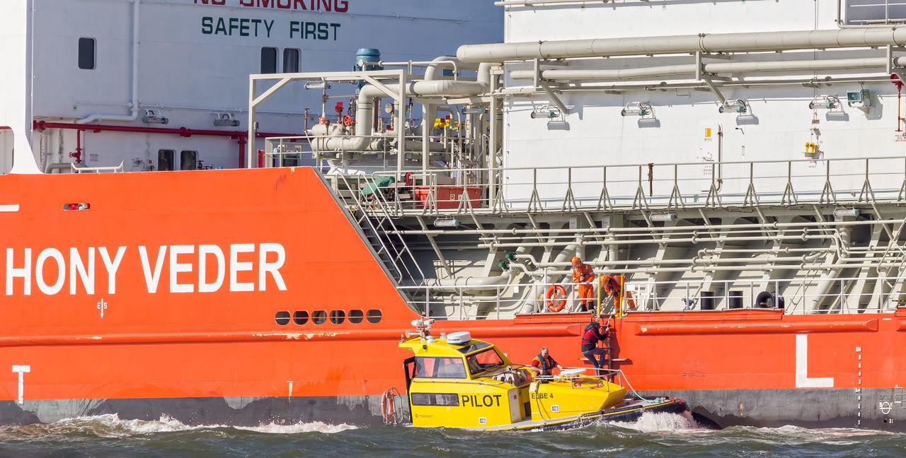 maritime pilot leaves ship Pilot Boat Elbe River Lotsenboot Schifffahrt Elbe Lotse Maritime Pilot Nautical Vessel Outdoors People Real People Ship Transportation