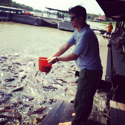 เด็กเลี้ยงปลาให้อาหาร น่ารักอ่าาาา