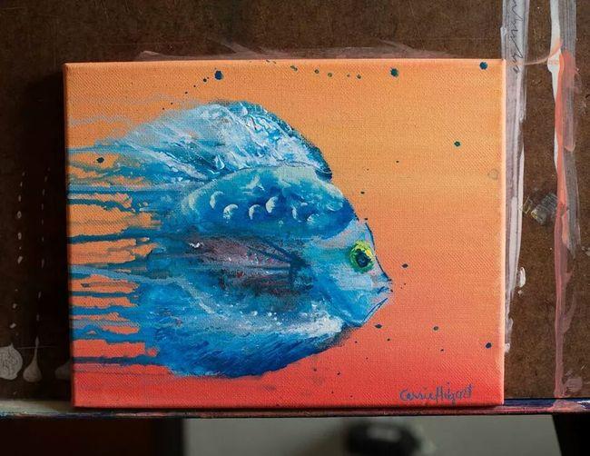 Fish Art Art Painting blue fish acrylic