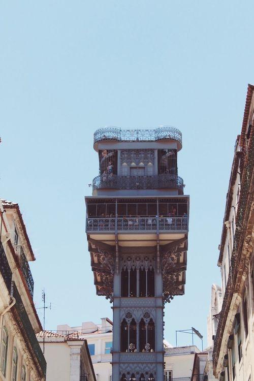 Part I: Blue Sky🌞 Architecture City Lisbon Lisboa Elevador De Santa Justa Beautiful Day Beautiful Landmark Building