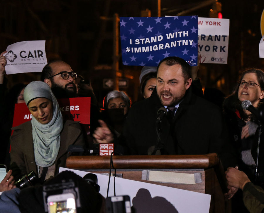 "As Trump begins to introduce policies detrimental to emigrants, New Yorkers take to the streets, or at least Washington Square Park to say ""Not Here"". We support our immigrant community. Cair Corey Johnson Councilman New York City Rally Refugees Refugeeswelcome Washington Square Park"