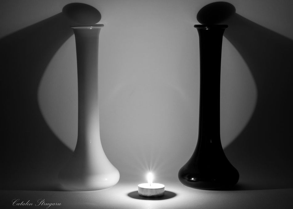 Angel and Demon Shadows & Lights Beauty In Ordinary Things Black And White Glass Candle Candlelight Shadows And Backlighting Glass_collection Creative Light And Shadow Dices Beautifull Creature Black And White Photography Composition Candl Candle Light Candle Flame Showcase:December