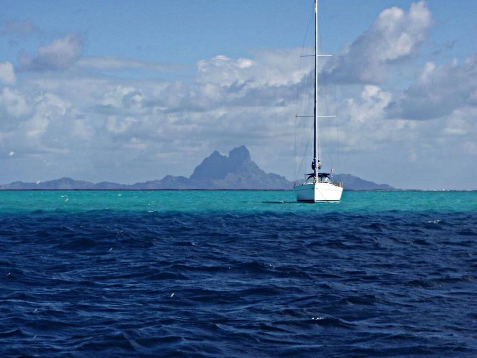Beautiful stock photos of bora bora, Blue, Boat, Cloud - Sky, Mast
