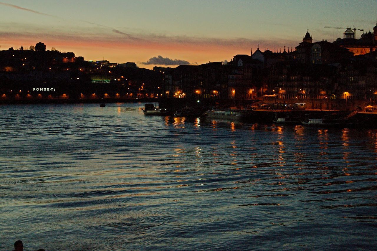 Sunset Sky Reflection Water Cityscape City Outdoors Cloud - Sky Architecture No People Nature Douro  Oporto Porto Portugal Night Travel Destinations Reflection