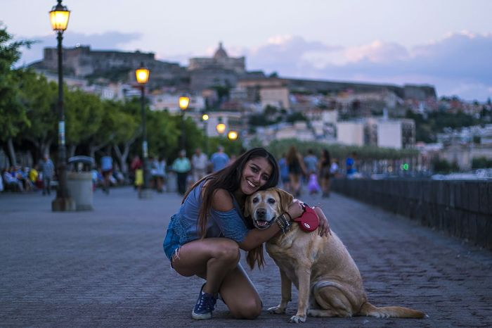 Dog Girl Doglovers Lovers Love Hug Cute Animallovers City Coast Town Lights Smile Happy