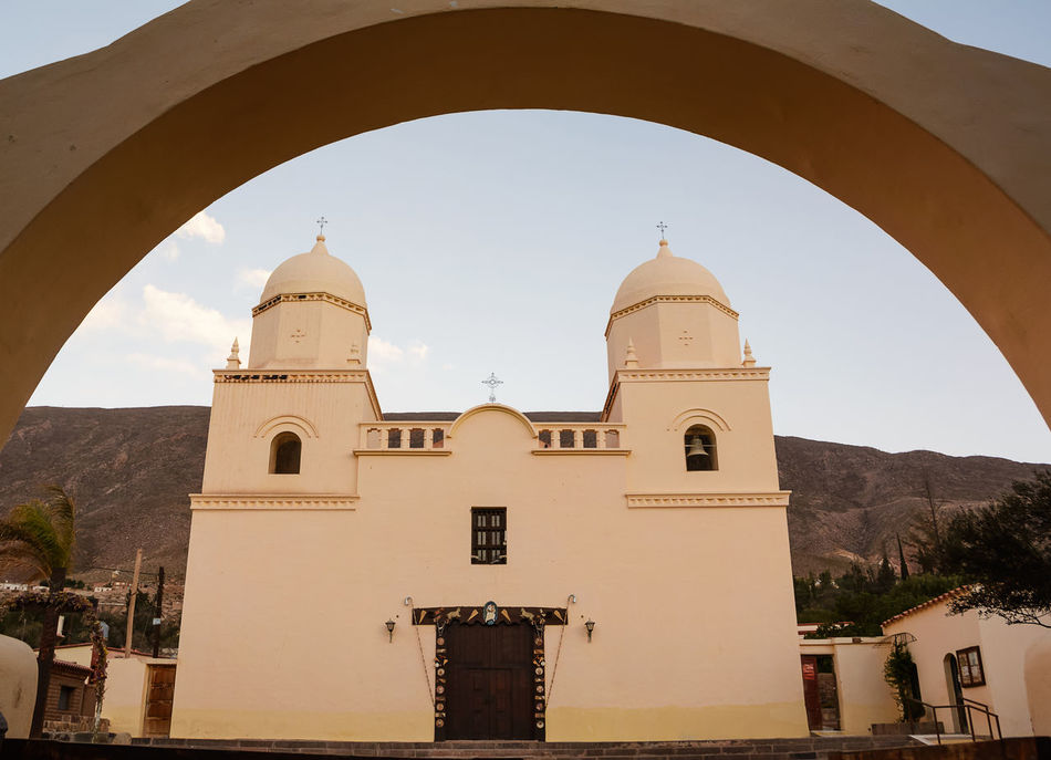 Church of Tilcara (Argentina) America Andes Arch Architecture Argentina Church City Ciudad Dome Humahuaca Iglesia Jujuy Landmark No People Our Lady Of The Rosary Outdoors Place Of Worship Pueblo Quebrada Religion Spirituality Street Tilcara Tilcara, Jujuy. Village