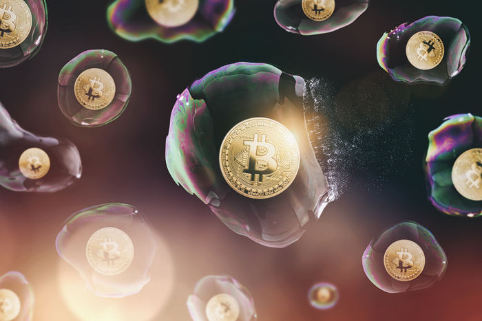 Bitcoin bubble burst - digital cryptocurrency concept image Anonymous Business Crash Currency Electronic Gold Virtual Ballon Banking Bit-coin Bitcoin Blockchain Bubble Burst Coin Crypto Digital Ethereum Finance Global Internet Litecoin Money Network Soapbubble