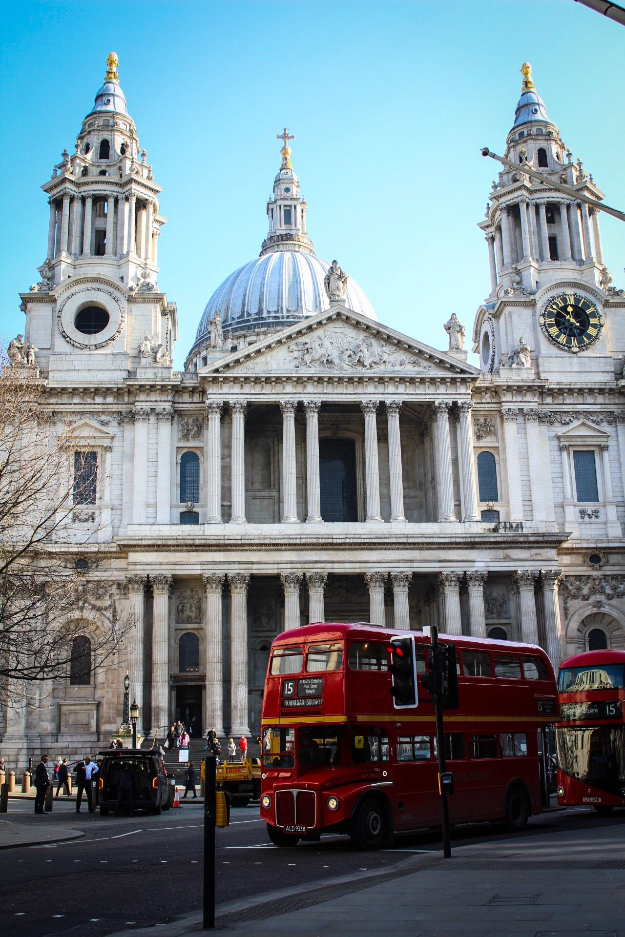 Architecture Building Exterior Built Structure Religion Place Of Worship Mode Of Transport Outdoors Travel Destinations Transportation City Spirituality Dome Land Vehicle Day Sky No People St Paul's Cathedral Everyday London London Bus Red Bus City City Street Architectural Column