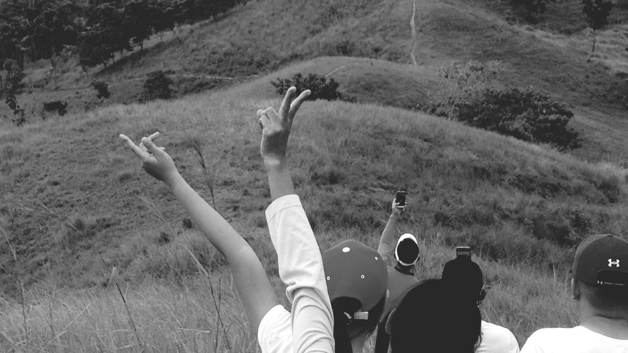 Outdoors Group Of People Groufie Real People Rear View Hiking Hiking Adventures Mountain Range Bike Trail Grassy Hillside Landscape Scenery Happiness Enjoying Life Human Hand Technology Fresh And Clean IMography Eyeem Philippines Monochrome Photography Black & White IPhone Enjoy The New Normal