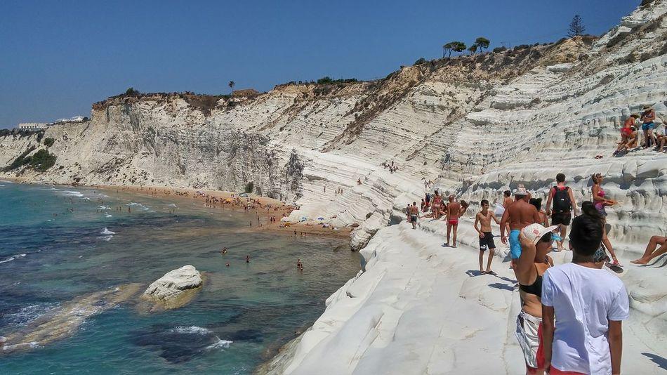 Large Group Of People Water Beach Nature Outdoors Beauty In Nature Low Angle View Sicily Tourism Travel Landscape Sea