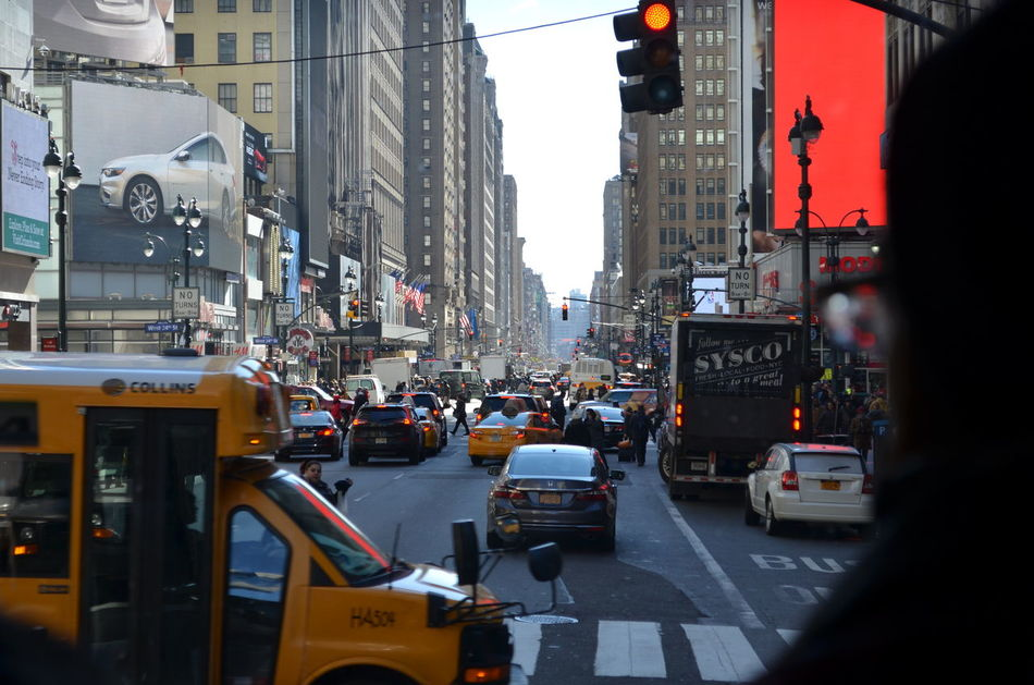 Busy Car Cars City City Day Depht Of Field New York Outdoors People Traffic Transportation Yellow Taxi