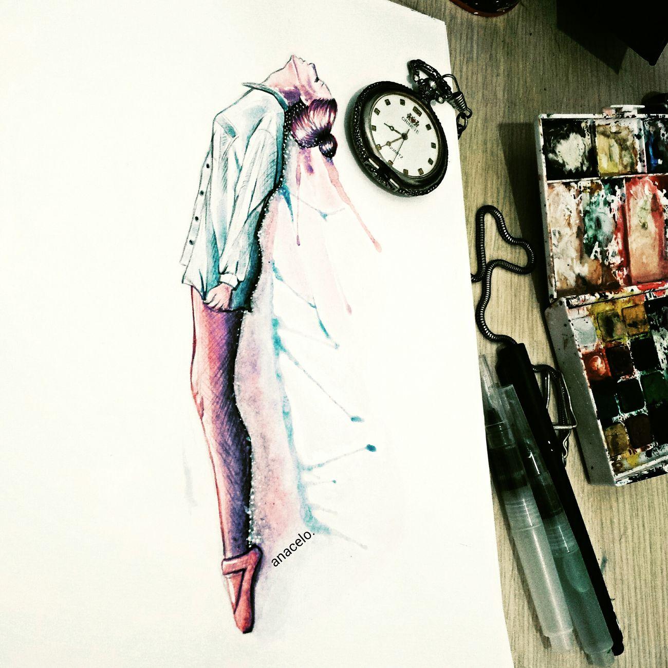 🎨Watercolor Drawing ByMe Illustration Hello World Ballet Enjoying Life