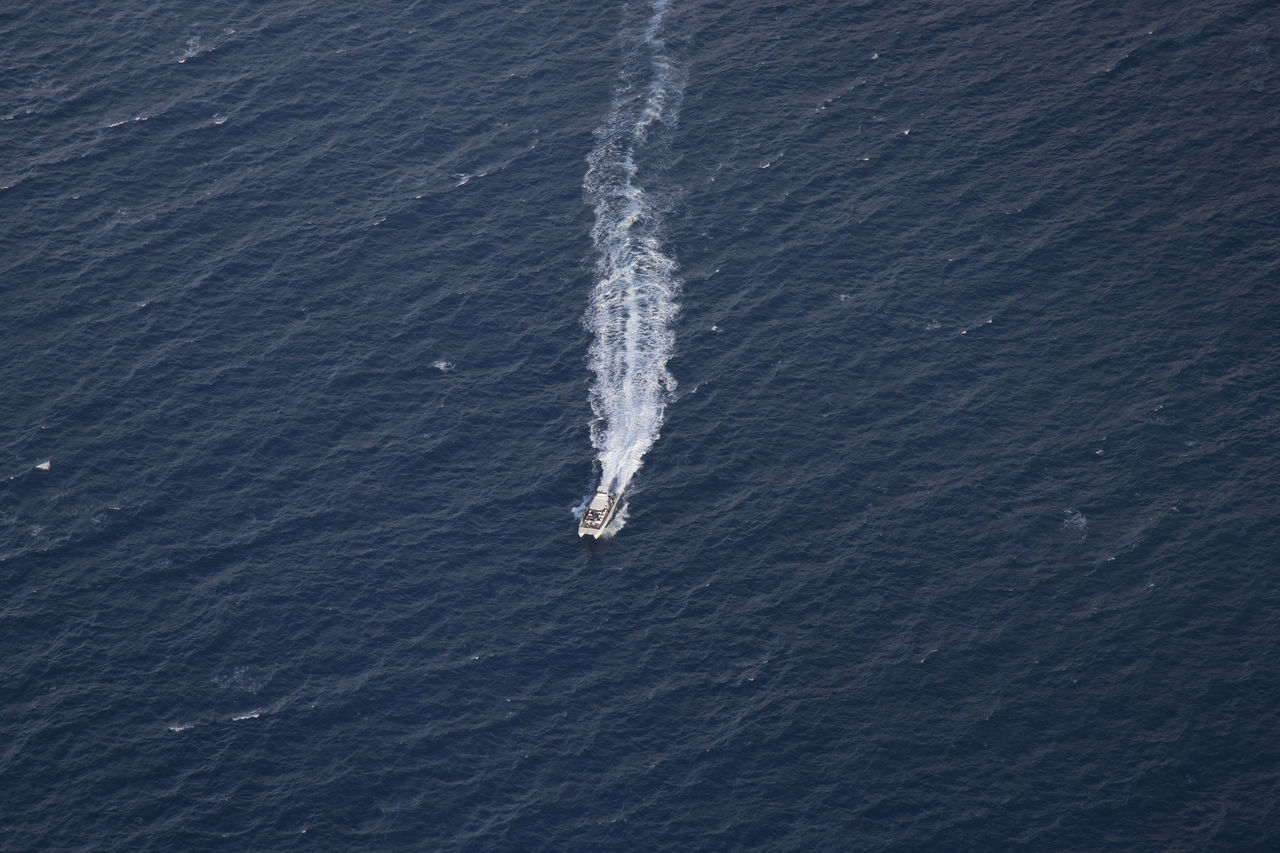 high angle view, wake - water, nautical vessel, sea, transportation, day, nature, no people, water, wake, outdoors