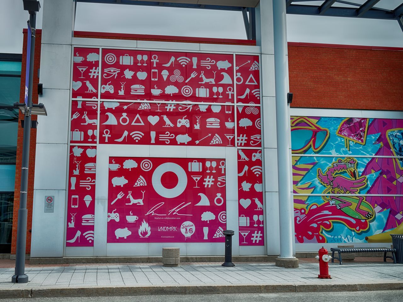 Architecture Art Building Exterior Built Structure Centropolis Day Emoji Hieroglyphs Modern Multicolor No People Outdoors Pink Red Shopping