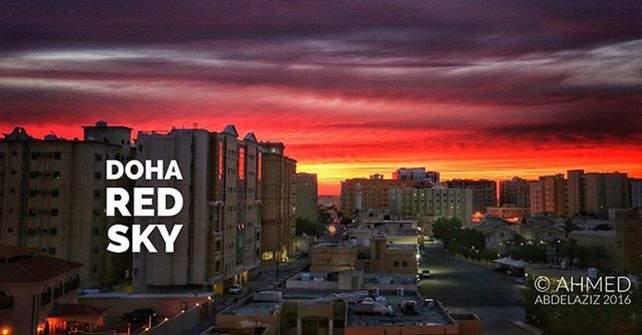 Doha Qatar Sky Red Sunset Hot Warm Mode Style Design Clouds Photo تصوير_فوتوغرافي فتوغرافيا الدوحه_قطر غروب_جمعه غروب_الشمس اجواء