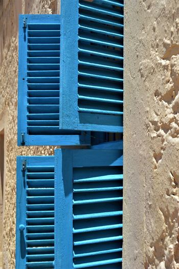 Architecture Blue Building Exterior Built Structure Close-up Day No People Outdoors Slats Textured  Window Window Frame Wood