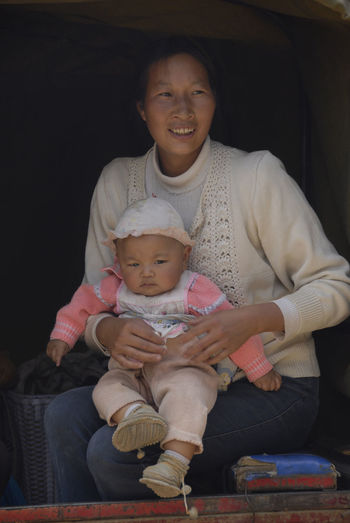 Baby China Chinese Mother Cute Family With One Child Front View One Child Policy Portrait Real People
