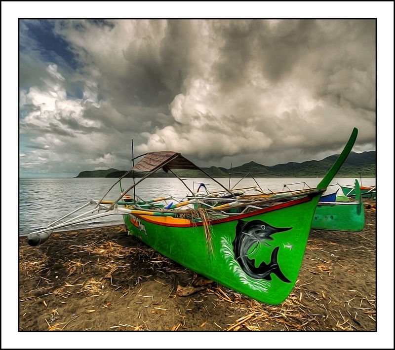 Boats Cloudporn Clouds And Sky Green Boat Joel Yonzon Outdoors Sand Sea Sea And Sky Seascapes Seaside Tranquil Scene Water Reflections