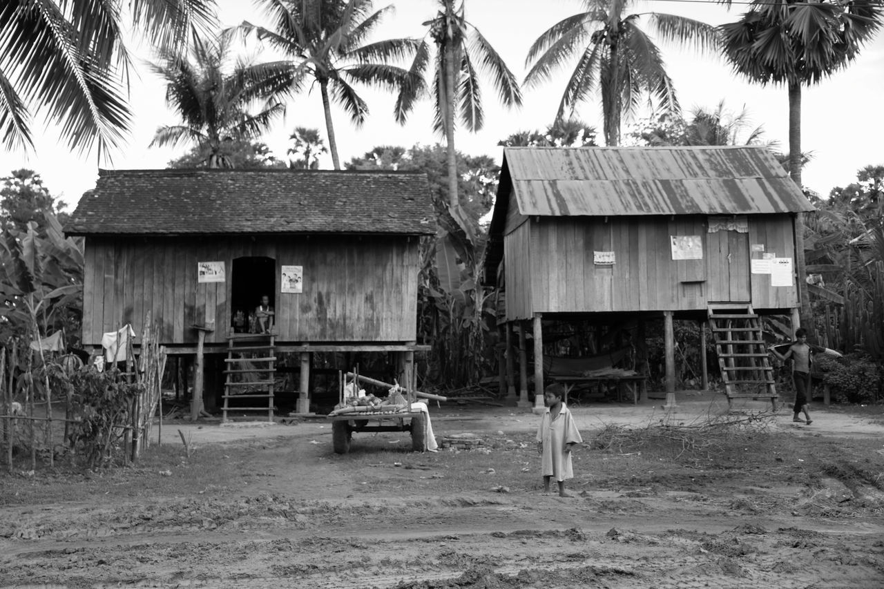 Architecture Black And White Boy Building Exterior Built Structure Cambodia Clear Sky Day Dirt Road House House On Stilts Hut Man Man Seated Man Walking Outdoors Palm Tree Roof Rural Scene Sky Stilts Tree Village