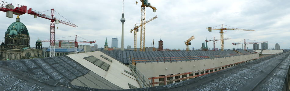 Architecture Berlin Cathederal Berlin Dom Berlin Panorama Built Structure Church Towers City Cloud - Sky Crane - Construction Machinery Cranes Development Industrial Equipment Outdoors Over The Roofs Of Berlin Panorama Roof Of New City Palace Berlin Towers And Sky
