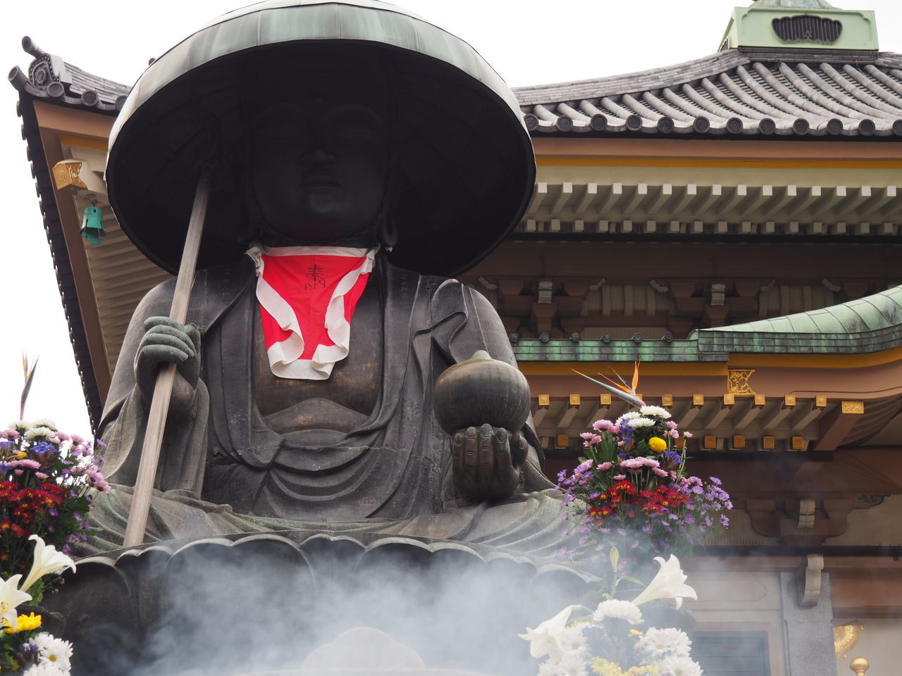 Architecture Bouddha  Buddha Buddha Statue Buddha Temple Building Exterior Built Structure Celebration Day Flower Hat Human Representation Japanese Culture Low Angle View No People Offering To God Outdoors Sculpture Smoke Statue Stick Travel Destinations
