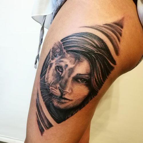 Tattoo Tattooartist  Tattoos Pensieripermanenti Tattoostudio Mendrisio Mendrisiotto Davidbiscegliarack Lioness Girl First Eyeem Photo